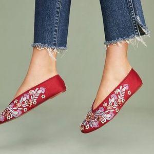 {LLANIxANTHROPOLOGIE} Embellished Satin Flats